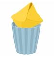 Yellow envelope in trash bin icon cartoon style vector image vector image