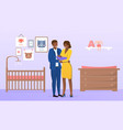 young parents holding and gently looking vector image vector image