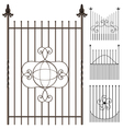 Wrought iron fence set vector image