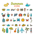 Beach icons collection Hand drawn summer icon set vector image