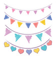 vintage bunting flags and garlands vector image