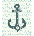 Hand drawn vintage anchor with lettering on the vector image