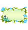 A caterpillar and flowers vector image vector image
