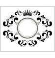 beautiful calligraphic frame with crown vector image vector image