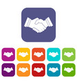 business handshake icons set flat vector image vector image