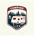 camping concept for shirt or logo print vector image vector image