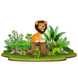cartoon happy lion sitting on tree stump with gree vector image vector image