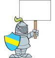 Cartoon knight holding a sign vector image vector image