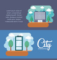 city elements design vector image
