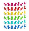 colorful pushpin pin and thumbtack color vector image vector image