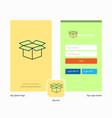 company carton splash screen and login page vector image vector image