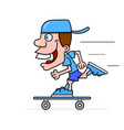 cool guy rides a skateboard vector image vector image