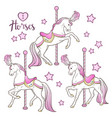 cute carousel horses and stars set isolated vector image