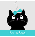 Cute cartoon black cat with blue bow Baby shower vector image vector image