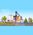 factory manufacturing building industrial zone vector image vector image