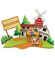 farmer riding wagon in the farm vector image vector image
