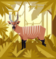 flat jungle background with bongo antelope vector image vector image