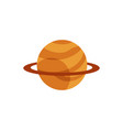 flat orange planet with ring icon vector image vector image