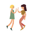 flat women giving high five vector image vector image