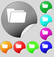 Folder icon sign Set of eight multi colored round vector image