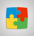 Four pieces of the puzzle are interconnected vector image