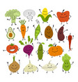 funny smiling vegetables characters for your vector image