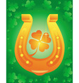 golden horseshoe with leaf clover vector image vector image