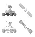 isolated object of mars and space icon set of vector image