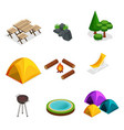 isometric set for camping outdoor vector image