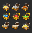 isometric treasure chests set vector image vector image