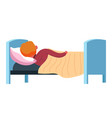 kid covered with blanket sleeping in comfy bed vector image vector image
