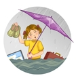 Little cartoon girl who suffers from flood eps10 vector image