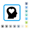 love in head framed icon vector image vector image
