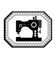 monochrome silhouette sewing machine in frame vector image