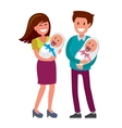 mother and father and newborn vector image