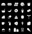 popular food icons on black background vector image vector image
