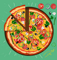 poster round hot pizza vector image