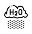 raining cloud h2o rain thin line sign icon vector image