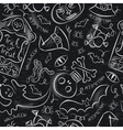 Seamless Pattern with Halloween objects on blackbo vector image vector image