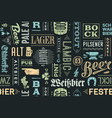 seamless pattern with types beer and hand drawn vector image vector image