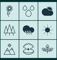 set of 9 harmony icons includes landscape vector image vector image