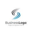 simple wave blue grey letter s business logo vector image
