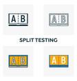 split testing icon set four elements in diferent vector image vector image