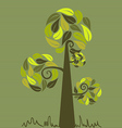 Vintage colors leaves tree set vector image vector image