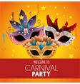 welcome carnival party bright masks feathers stars vector image