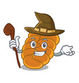 witch challah mascot cartoon style vector image vector image