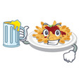 with juice pasta in a mascot shape vector image