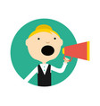 woman with megaphone round avatar icon vector image vector image