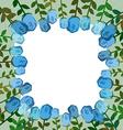 Decorative frame of blue roses Vintage background vector image