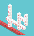 isometric crossword strategy concept vector image